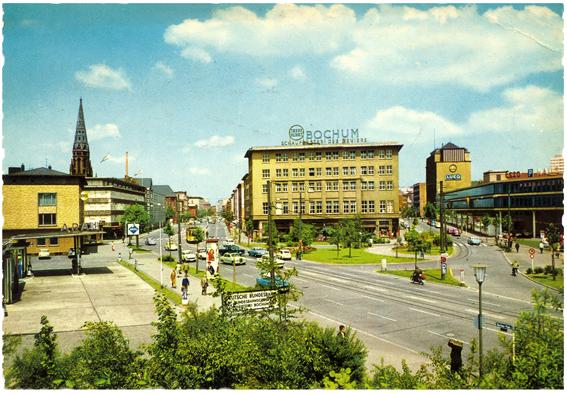 Konrad-Adenauer-Platz mit Handelshof und Lueghaus 1960