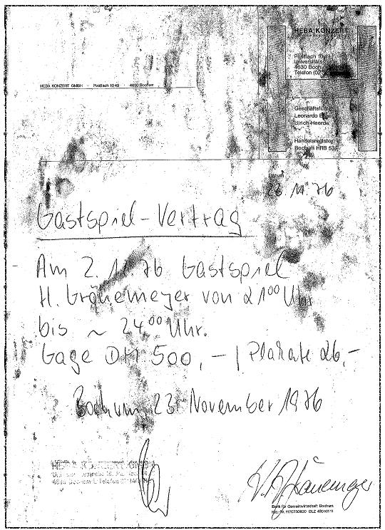 Vertrag mit Herbert Grönemeyer 1976 // Quelle: Heba Konzert GmbH
