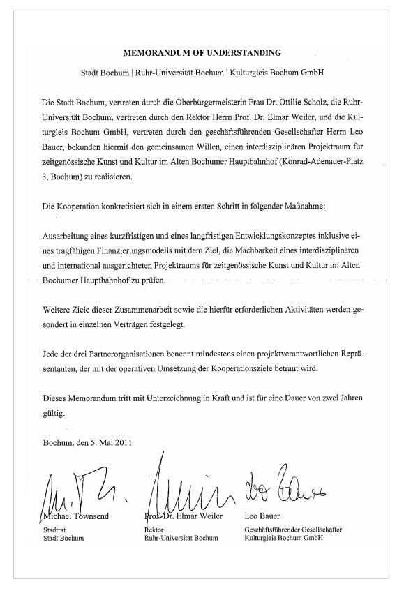 Memorandum of Understanding von Mai 2011