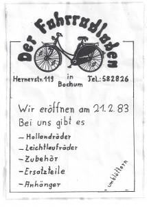 Der erste Handzettel des Fahrradladens von 1983 // Quelle: Der Fahrradladen Balance