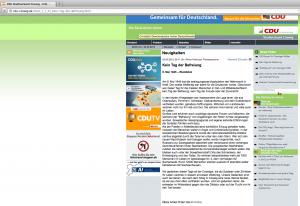Die bunte Homepage kann über den braungefärbten Inhalt nicht hinwegtäuschen (Screenshot v. 23.5.13)