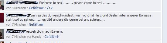 Ausschnitt einiger aktueller Kommentare auf Robert Lewandowskis Seite bei Facebook.
