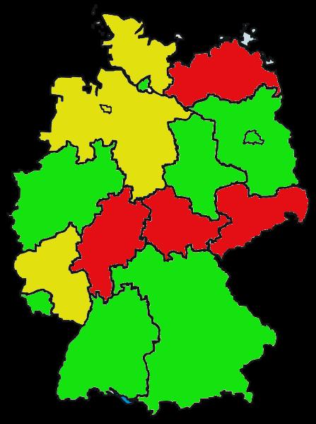 Antwortverhalten der Ministerien. rot = keine Antwort gelb = zusammenfassende Antwort grün = Antworten zu den Fragen