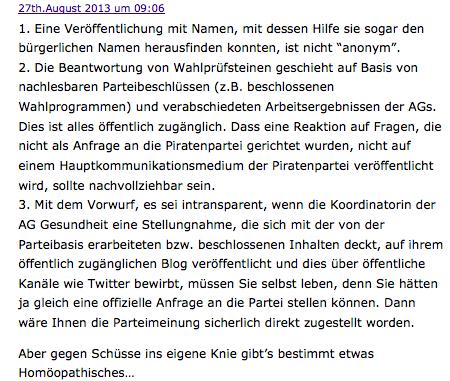 Ein Kommentar entzaubert den Skandalversuch des DZVhÄ (Screenshot aus dem Blog - 27.8.13; 19 Uhr)