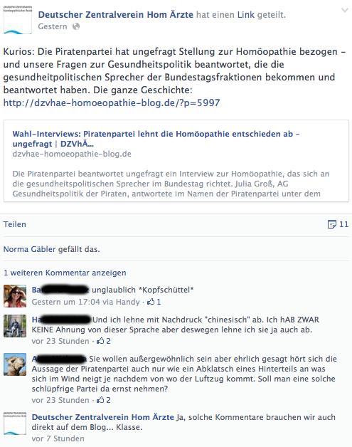 Reaktionen bei Facebook (Screenshot)