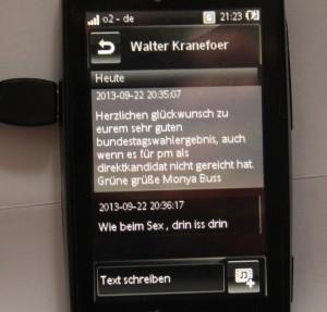 SMS Nachricht von Sonntag. Foto: Monya Buss