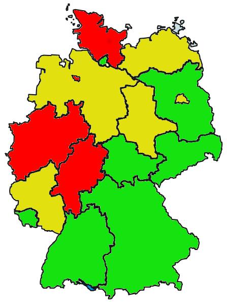 Wie esoterisch ist mein Gesundheitsministerium? grün = 0 bis 4 Globuli gelb = 5 bis 9 Globuli rot = 10 bis 15 Globuli Quelle: Sebastian Bartoschek, Ruhrbarone