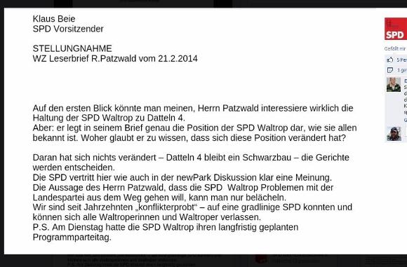 Reaktion von Klaus Beie auf Facebook.