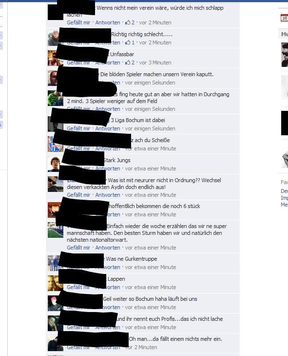 Ausschnitt aus den Fanreaktionen der VfL-Fans bei Facebook nach der Niederlage in Paderborn.