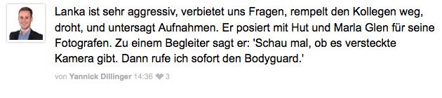 So kommentierte Yannick Dillinger das Verhalten des Dr. Lanka (Screenshot: www.schwaebische.de)