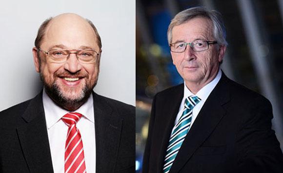 Martin Schulz und Jean-Claude Juncker. Foto Schulz:Susie Lizenz: Copyright Knoll Foto. Juncker: EVP Lizenz: CC 2.0