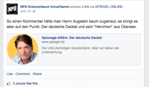 Screenshot: Facebook Posting der NPD Unna/Hamm