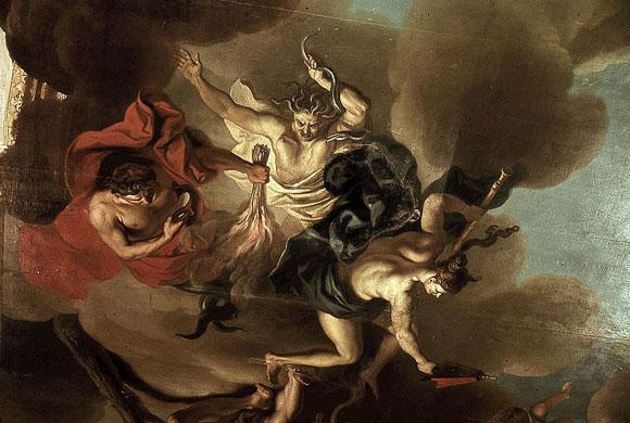 Herkules stürzt Zwietracht, Neid und Haß. Bild: Louis de Silvestre Lizenz: Public Domain