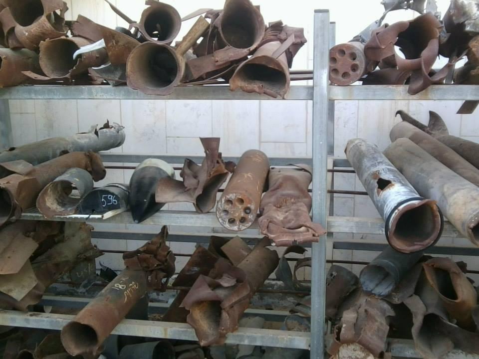 In Israel eingeschlagene Raketen, aufbewahrt in Sderot nahe des Gazastreifens.