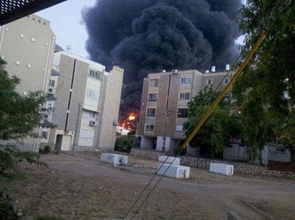 Raketeneinschlag in der israelischen Stadt Sderot. Foto: IDF