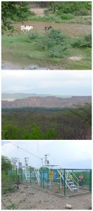 Bild oben: Der Rio Rancheria – die Hauptwasserweulle der gesamten Region Bild Mitte: Abraumhalden des Tagebergbaus Cerrejòn nur wenige Meter vom Ufer des Rio Rancheria entfernt  Bild unten: Staubmessstation von Cerrejòn