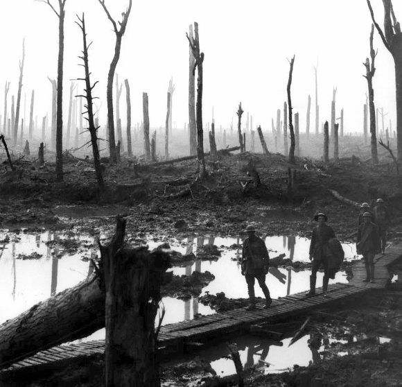 Chateau Wood Ypres 1917. Quelle: Wikipedia, Foto: Frank Hurley, Lizenz: Gemeinfrei