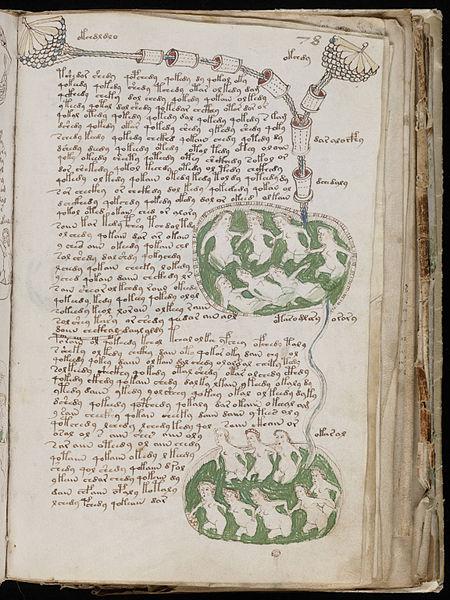 Eine der Seiten aus dem Voynich Manuskript mit badenden Frauen. (Quelle: http://commons.wikimedia.org/wiki/File:Voynich_Manuscript_%28141%29.jpg#mediaviewer/Datei:Voynich_Manuscript_%28141%29.jpg)