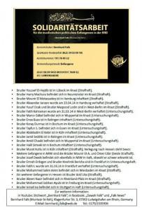 Liste islamistischer Gefangener, von Falk auf Facebook veröffentlicht.
