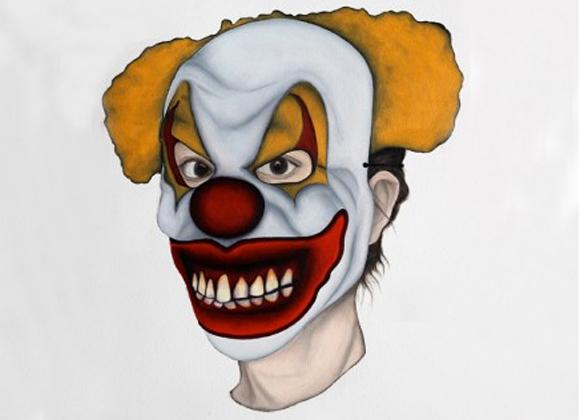 Der Böse Clown, Marion Auburtin, Marionette (clown maléfique), Öl auf Papier, 31 x 41 cm, 2013