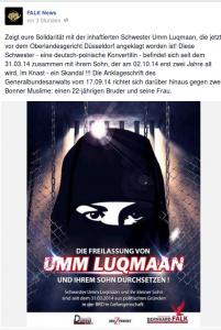 Facebook-Posting für die Freilassung von Karolina R. (Screenshot)