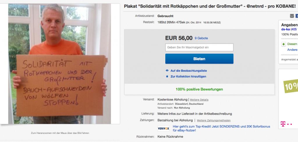 Screenshot des Angebotes bei ebay