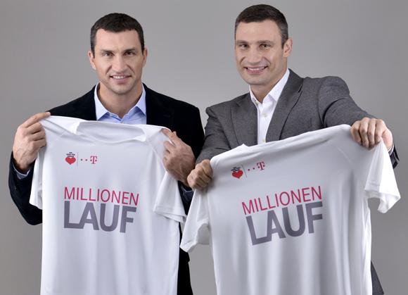 Vitali und Wladimir Klitschko rufen beim Telekom Millionen-Lauf zum Endspurt auf. Eine gute Idee - ich lauf schon mal weg von der Telekom. Foto: Telekom/PR