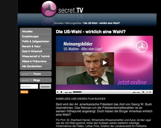 Prof. Eberhard Haber auf Secret TV, Screenshot