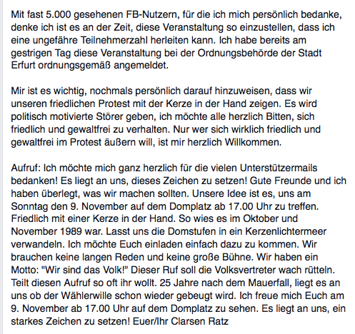 Ratzs Aufruf bei Facebook. (Foto: Screenshot)