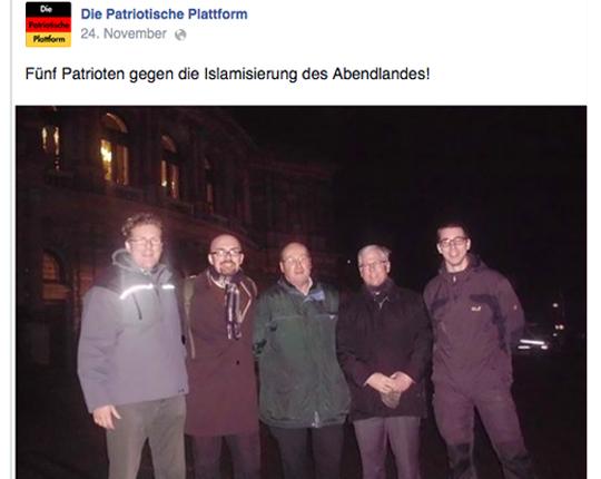 Die Retter des Abendlandes von der Patriotischen Plattform, Screenshot facebook