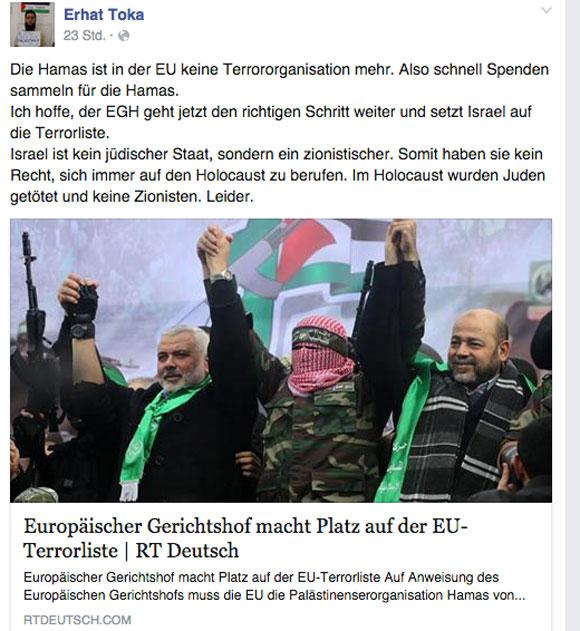 Hamas-Spendensammler Toka mag nicht Islamist genannt werden.