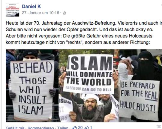 Facebook Seite von Daniel K., Screenshot