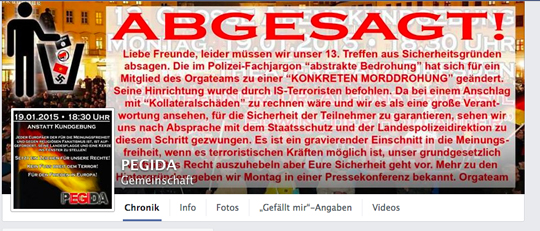Absage der PEGIDA-Demo, Screenshot facebook