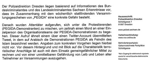 Verfügung der Polizei Dresden, Screenshot