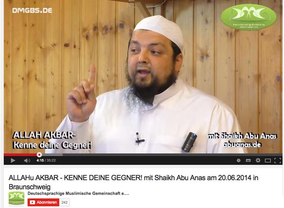 Abu Anas: Videopredigt in der Deutschsprachigen Muslimischen Gemeinschaft (DMG), Screenshot