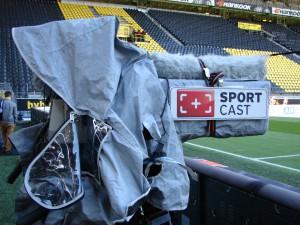 TV-Kamera im Dortmunder Stadion. Foto: Robin Patzwaldt