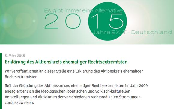 Erklärung des Aktionskreis zur NRW-Debatte, Foto: Screenshot www.exit-deutschland.de