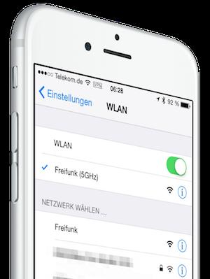 iPhone mit Freifunk-WLAN (Bild erstellt mit: mockuphone.com, Lizenz: CC-BY)