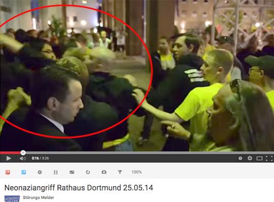 Rathausüberfall 2014, Screenshot Video Alexander Völkel