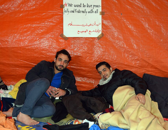 Protestcamp der syrischen Flüchtlinge, Foto: Ulrike Märkel 2015