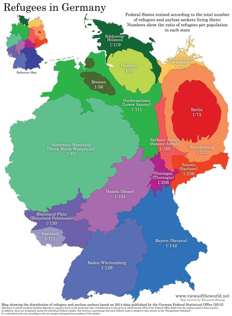 Deutschland - neu vermessen nach Flüchtlingszahlen. (Quelle: www.viewsoftheworld.net / Benjamin Hennig)
