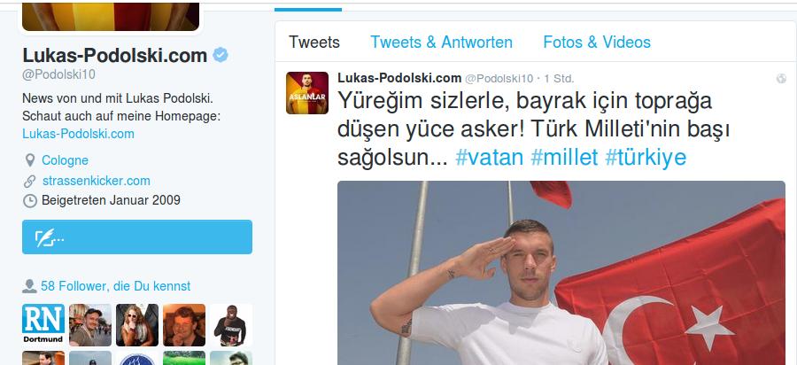 Screenshot: Twitterprofil Lukas Podolski