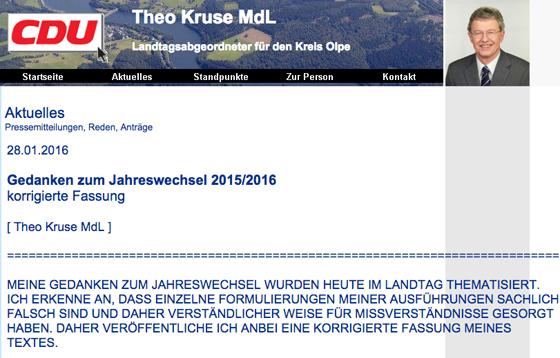 Webseite Theo Kruse (MdL) Screenshot