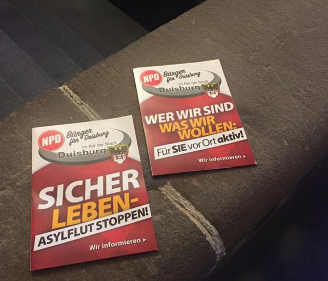 Duisburger NPD-Ratsgruppe: Druckfrische Flyer mit Stadtwappen. Screenshot: Facebook