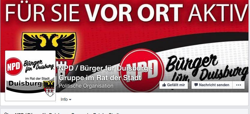 Zweimal Stadtwappen: Screenshot Facebook-Seite der NPD-Gruppe im Stadtrat