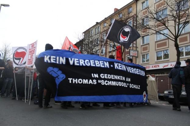 """Demonstration in Gedenken an """"Schmuddel"""" im Jahr 2011 (Quelle: Indymedia; Lizenz: CC )"""