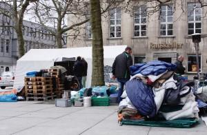 Das Protestcamp vor dem Bochumer Rathaus ist unterbrochen. Bild: Gehrhardt