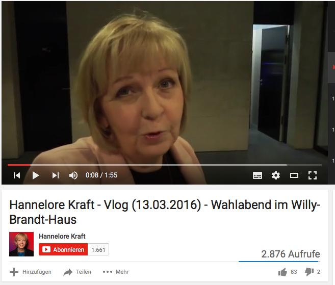 Screenshot von Hannelore Krafts Videoblog.