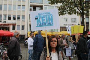 Protestierten für Pressefreiheit in der Türkei: Demonstranten in Köln. Foto: Jana Klein