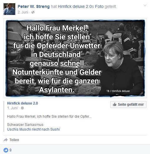Screenshot Facebook-Seite Peter W. Streng